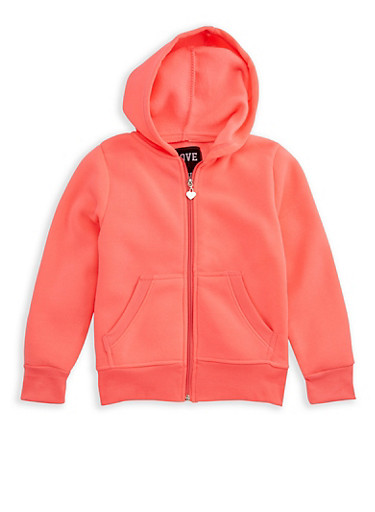 Girls 7-16 Zipper Front Hoodie,NEON PINK,large