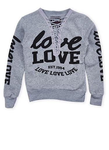 Girls 7-16 Lace Up Graphic Sweatshirt,HEATHER,large