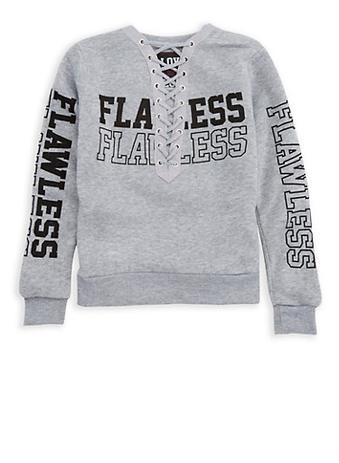Girls 7-16 Flawless Graphic Lace Up Sweatshirt,HEATHER,large