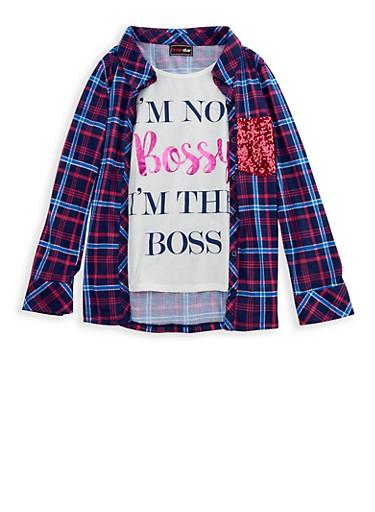 Girls 7-16 Layered Graphic Plaid Shirt,NAVY,large