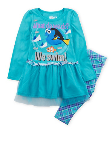 Girls 4-6x Finding Dory Tunic Top and Leggings Set,TURQUOISE,large