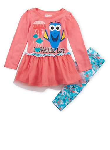 Girls 4-6x Finding Dory Tunic Top and Leggings Set,PINK,large