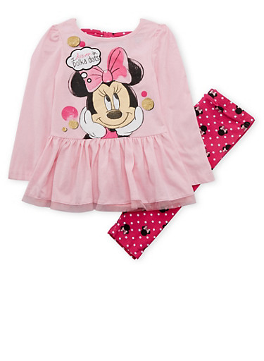 Girls 4-6x Ruffled Top and Leggings Set with Minnie Mouse Graphic,PINK,large