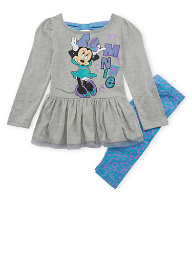 Girls 4-6x Minnie Mouse Peplum Top with Printed Leggings Set,HEATHER,large