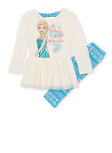Girls 4-6x Ruffled Top and Leggings Set with Frozen Graphic,IVORY,large