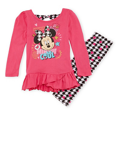 Girls 4-6x Minnie Mouse Top and Leggings Set,FUCHSIA,large