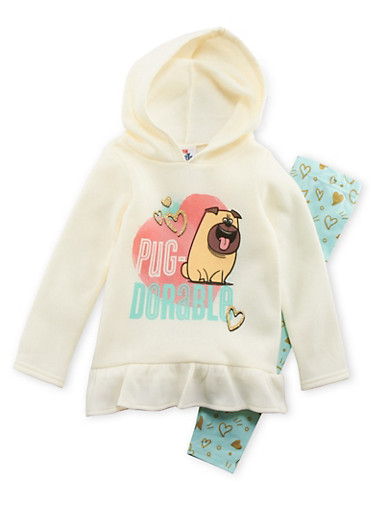 Girls 4-6x Secret Life of Pets Graphic Hoodie with Leggings Set,IVY/MINT,large