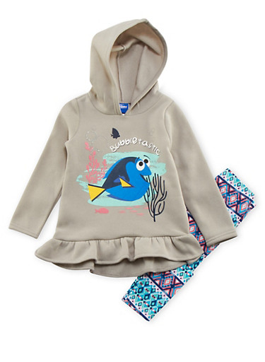 Girls 4-6x Finding Dory Hoodie with Leggings Set,HEATHER,large