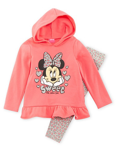 Girls 4-6x Minnie Mouse Hoodie and Leggings Set,CORAL,large