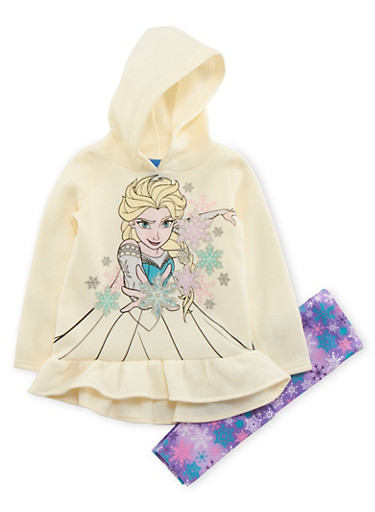 Girls 4-6x Ruffled Hoodie and Printed Leggings Set with Frozen Graphic,IVORY,large