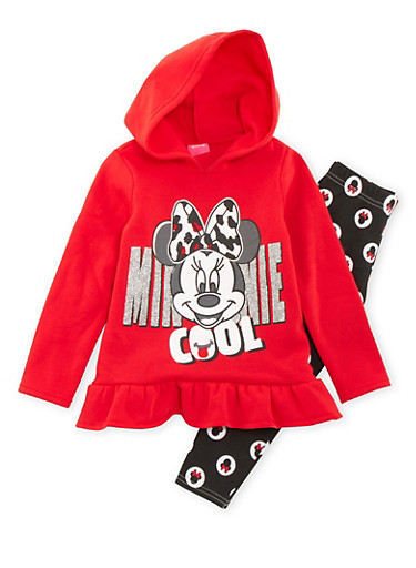 Girls 4-6x Minnie Mouse Hoodie and Leggings Set,RED,large
