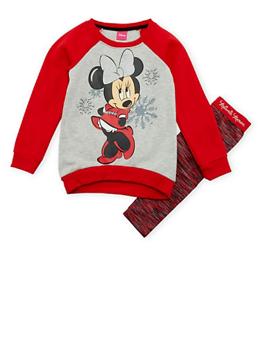 Girls 4-6x Sweatshirt and Leggings with Minnie Mouse Print,RED,large