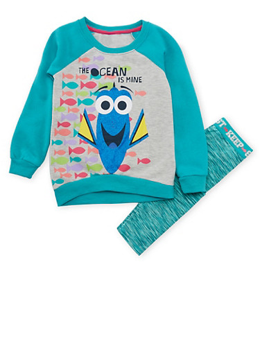 Girls 4-6x Knit Top and Leggings Set with Finding Dory Graphic,TURQUOISE,large