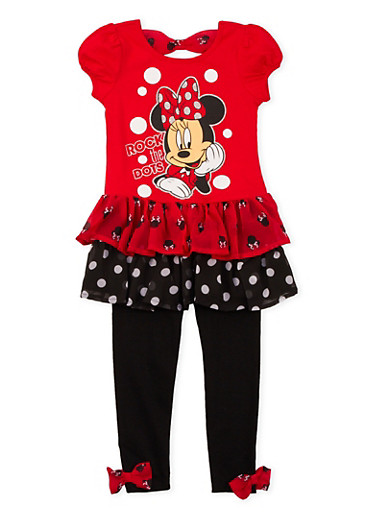 Girls 4-6x Tiered Tunic Top and Leggings Set with Minnie Mouse Graphic,RED,large