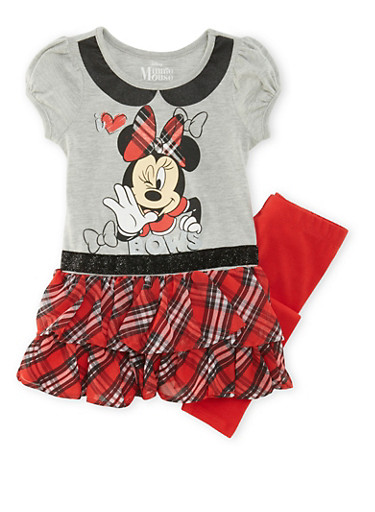 Girls 4-6x Minnie Mouse Dress and Leggings Set,HGRY/RED,large