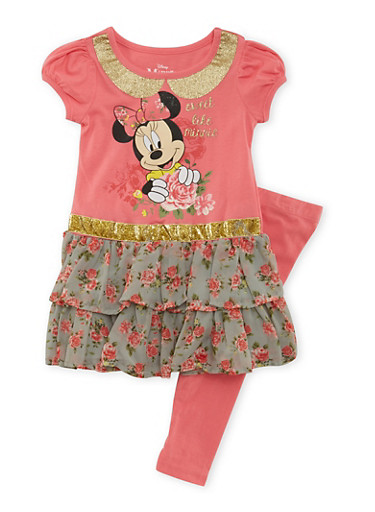 Girls 4-6x MInnie Mouse Graphic Peplum Top and Leggings Set,PINK,large