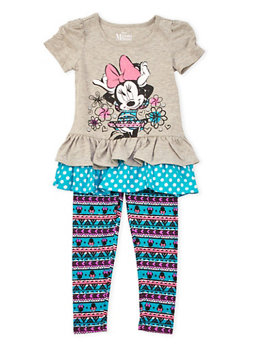 Girls 4-6x Ruffled Top and Printed Leggings Set with Minnie Mouse Graphic,HEATHER,large