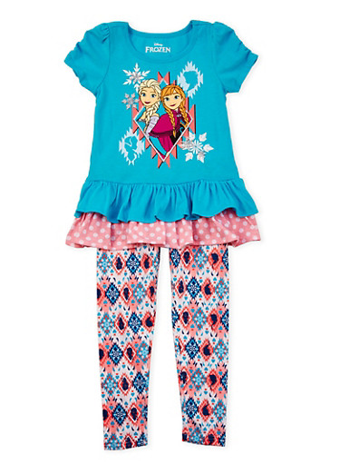 Girls 4-6x Tunic Top and Printed Leggings Set with Frozen Graphic,TURQUOISE,large
