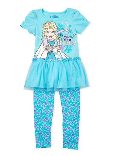 Girls 4-6x Tulle Peplum Top and Printed Leggings Set with Frozen Graphic,TURQUOISE,large