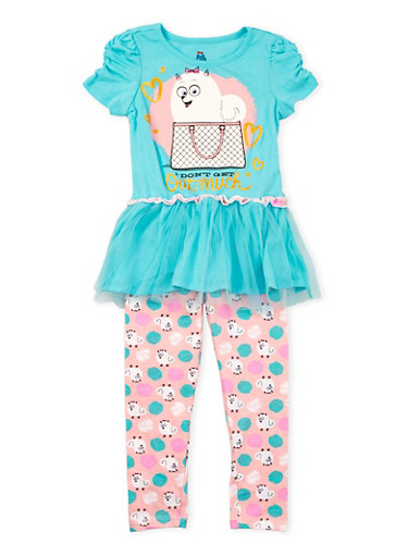 Girls 4-6x Graphic Dress and Leggings Set,TURQUOISE,large
