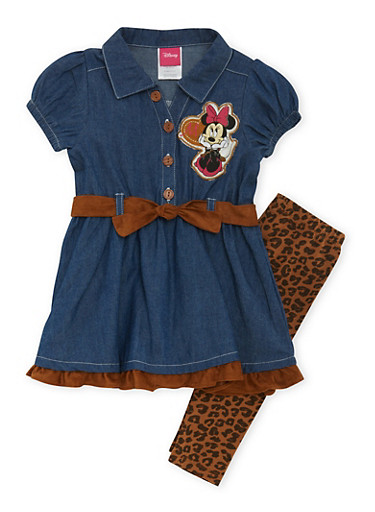 Girls 4-6x Minnie Mouse Patch Top and Leggings Set,DENIM,large