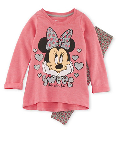 Girls 4-6x Minnie Mouse Sweatshirt with Leopard Print Leggings Set,CORAL,large