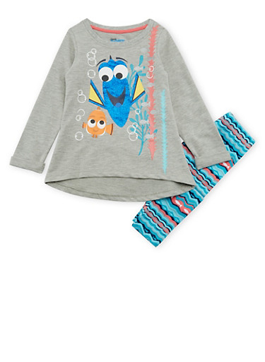 Girls 4-6x Finding Dory Graphic Top with Leggings Set,HEATHER,large