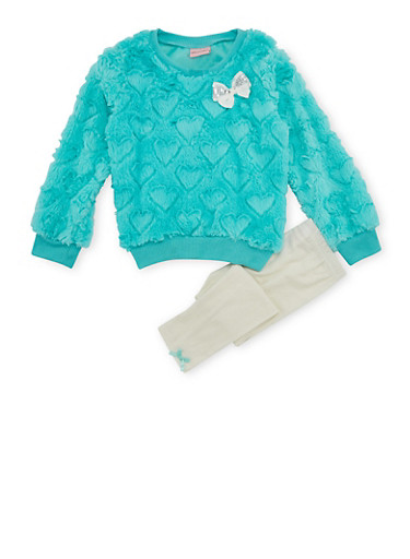 Girls 4-6x Fuzzy Heart Sweater and Leggings with Bow Details,MINT,large