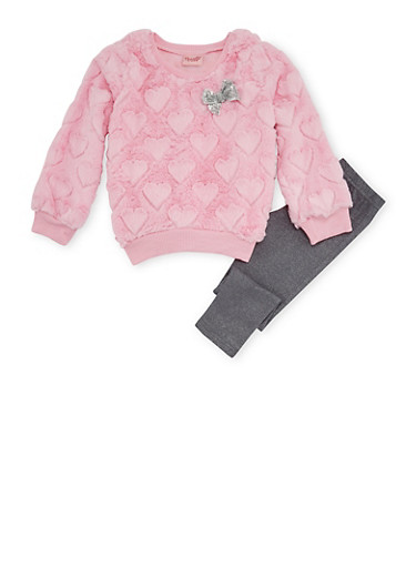 Girls 4-6x Fuzzy Heart Sweater and Sparkle Leggings with Bows,PINK,large