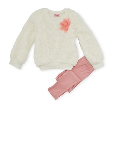 Girls 4-6x Faux Fur Sweater and Leggings Set,MULTI COLOR,large