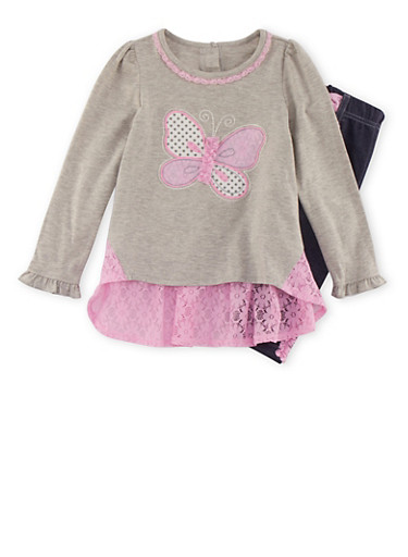 Girls 4-6x Butterfly Top with Jeggings Set,DENIM,large