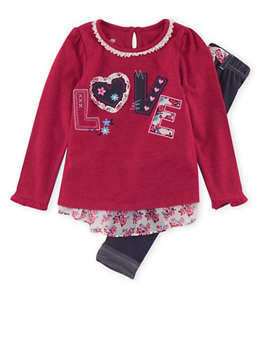 Girls 4-6x Love Patch Top and Jeggings with Belt Accent,DENIM,large