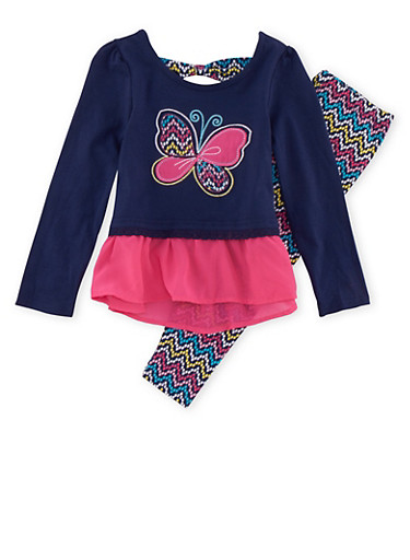 Girls 4-6x Butterfly Graphic Top with Leggings Set,MULTI COLOR,large