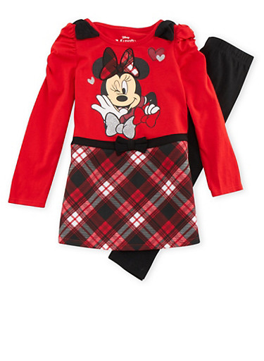 Girls 4-6x Minnie Mouse Plaid Dress and Leggings Set,RED,large