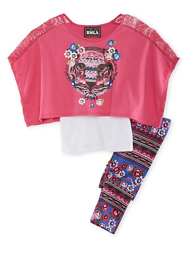 Girls 4-6x Tank Top with Abstract Lion Print Top and Printed Leggings Set,FUCHSIA,large