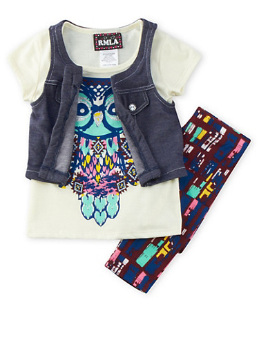Girls 4-6x Vest and Graphic Tee with Leggings Set,MAROON,large