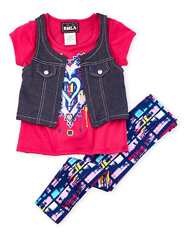 Girls 4-6x Fuchsia Graphic Heart Tee with Denim Vest and Leggings,FUCHSIA,large