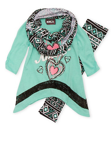 Girls 4-6x Amour Graphic Top with Printed Leggings and Scarf Set,SEAFORM,large