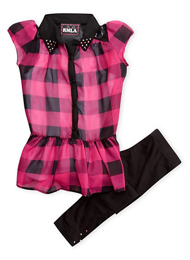 Girls 4-6x Plaid Tunic Top with Tank Top and Leggings Set,BLACK,large