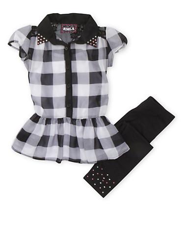 Girls 4-6x Semi-Sheer Dress with Studded Jersey Leggings,BLACK/WHITE,large