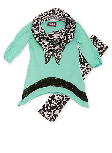 Girls 4-6x Fearless Graphic Top with Leopard Print Leggings and Scarf Set,SEAFORM,large