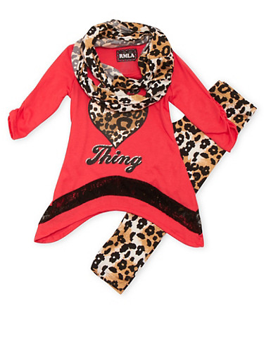 Girls 4-6x Graphic Top and Leggings with Scarf Set in Leopard Print,CORAL,large