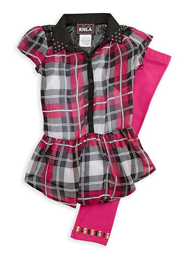 Girls 4-6x Short Sleeve Plaid Top with Cami and Solid Leggings Set,FUCHSIA,large