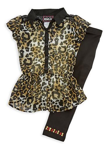 Girls 4-6x Short Sleeve Animal Print Top with Leggings Set,IVORY,large
