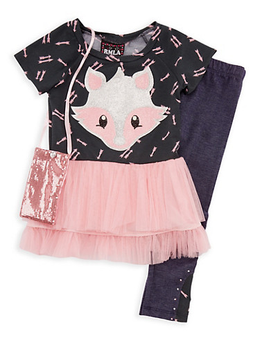 Girls 4-6x Fox Top with Denim Knit Leggings and Purse Set,PINK,large