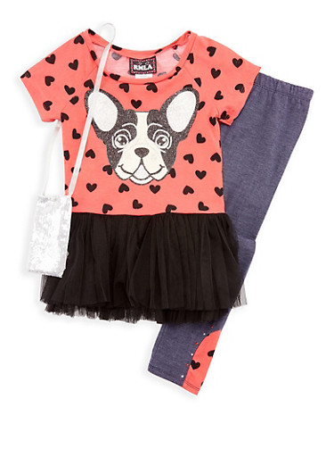 Girls 4-6x Puppy Top with Denim Knit Leggings and Purse Set,CORAL,large