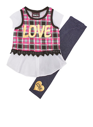 Girls 4-6x Love Plaid Top with Denim Knit Leggings Set,FUCHSIA,large