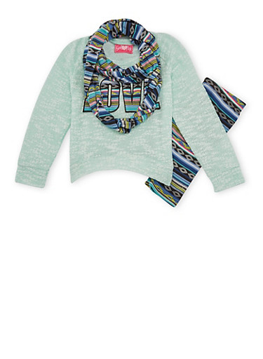 Girls 4-6x Love Graphic Sweater with Printed Leggings and Scarf Set,AQUA,large