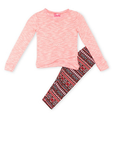 Girls 4-6x Heart Studded Sweater and Aztec Print Leggings,PINK,large