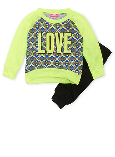 Girls 4-6x Printed Raglan Top and Joggers Set with Love Graphic,LIME,large